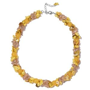 NWT Yellow Shell, Faceted Bead Necklace [20-23 in]